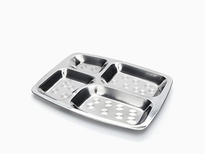 Onyx Stainless Steel Divided Plate -- Rectangular Food Tray