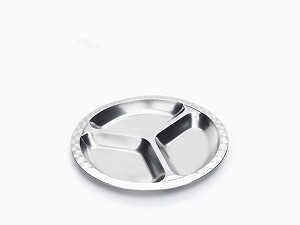 Onyx Stainless Steel Divided Plate -- Small Round