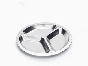 Onyx Stainless Steel Medium Round Divided Plate